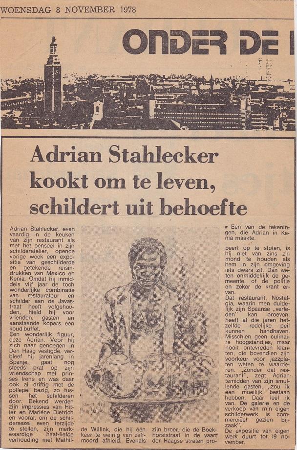Adrian Stahlecker kookt om te leven, schildert uit behoeft, 8 november 1978