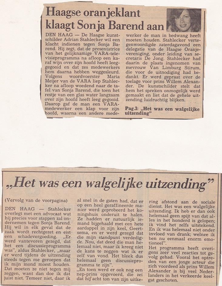 Haagse oranjeklant klaag Sonja Barend aan, 15 oktober 1984