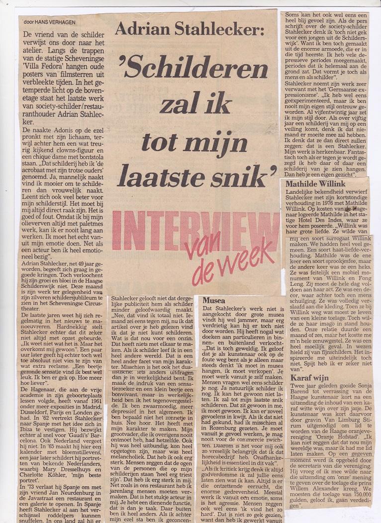 Interview van de week (1/2), 1986