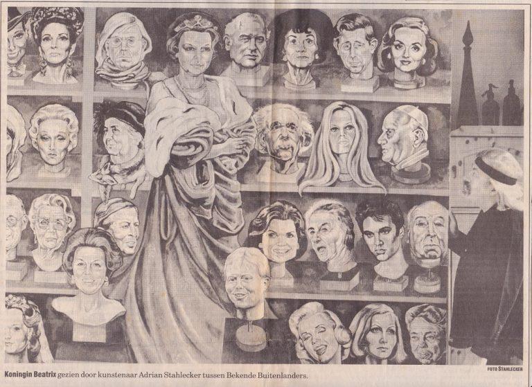 Koning Beatrix gezien door kunstenaar Adrian Stahlecker tussen Bekende Buitenlanders, 26 maart 1996