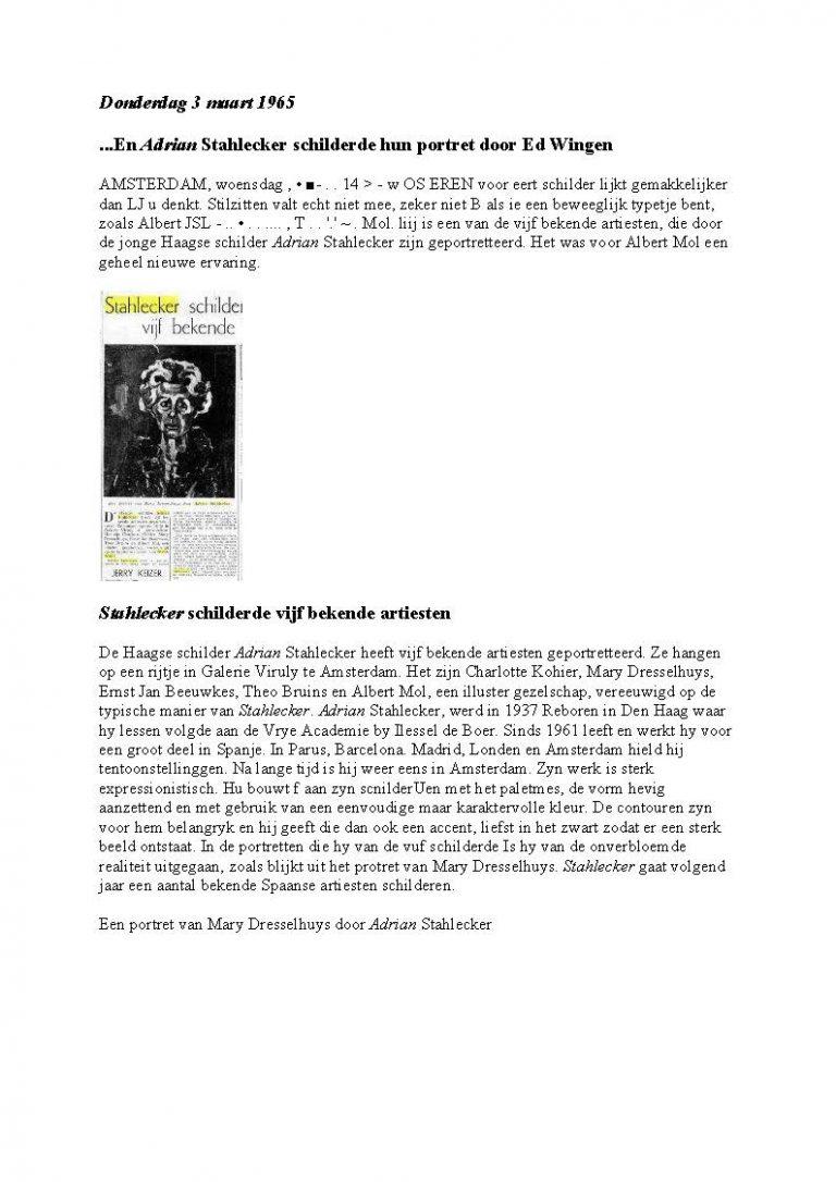 Adrian Schilderde vijf bekende artiesten, 3 maart 1965
