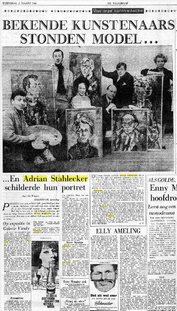 Bekende kunstenaars stonden model... En Adrian Stahlecker schilderde hun portret, Telegraaf, 2 maart 1966
