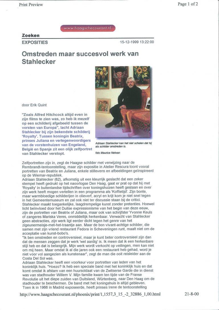 Haagsche Courant, 15 februari 1999