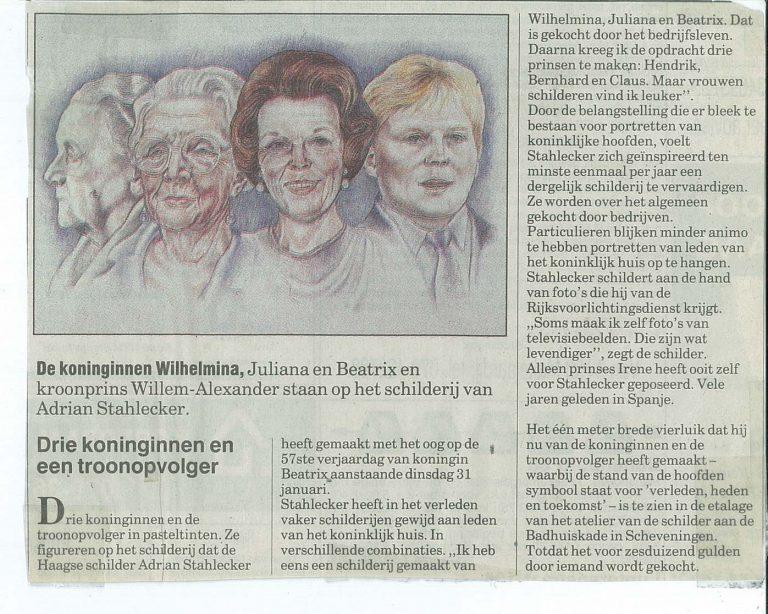 Krantenartikel Vier Koninklijke Portretten