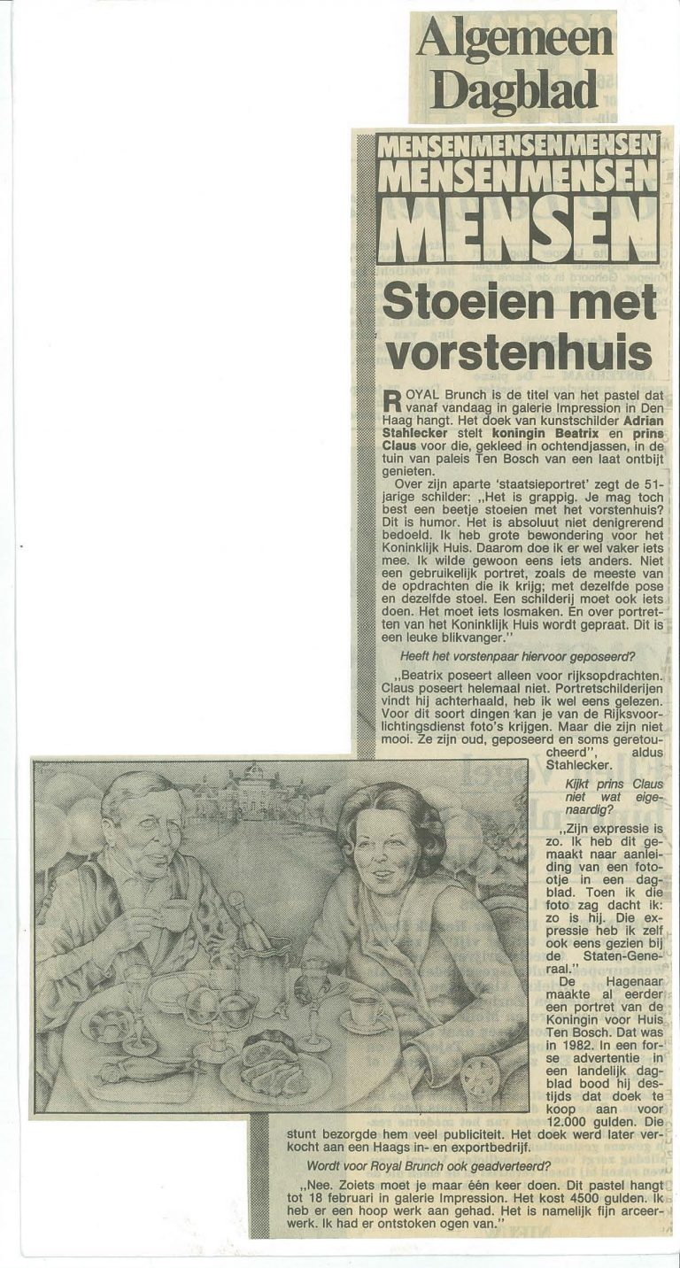 Krantenartikel Vorstenhuis