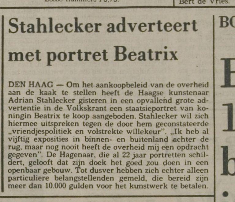 Krantenartikel portret Beatrix
