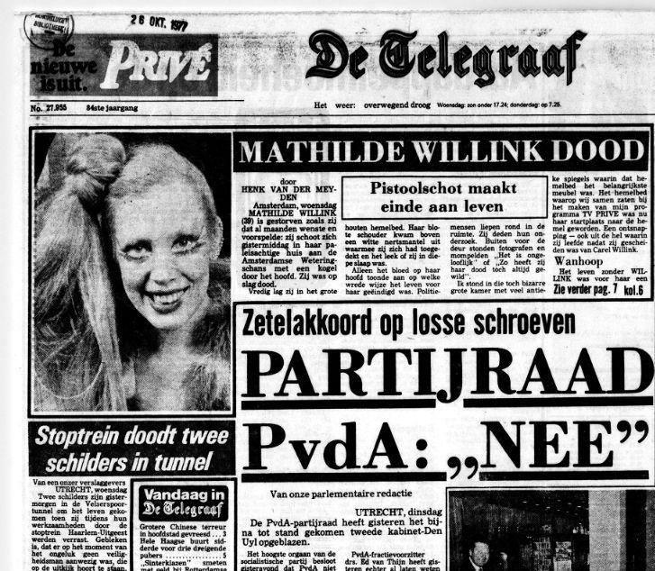Telegraaf Overlijden Mathilde 26.10.1977