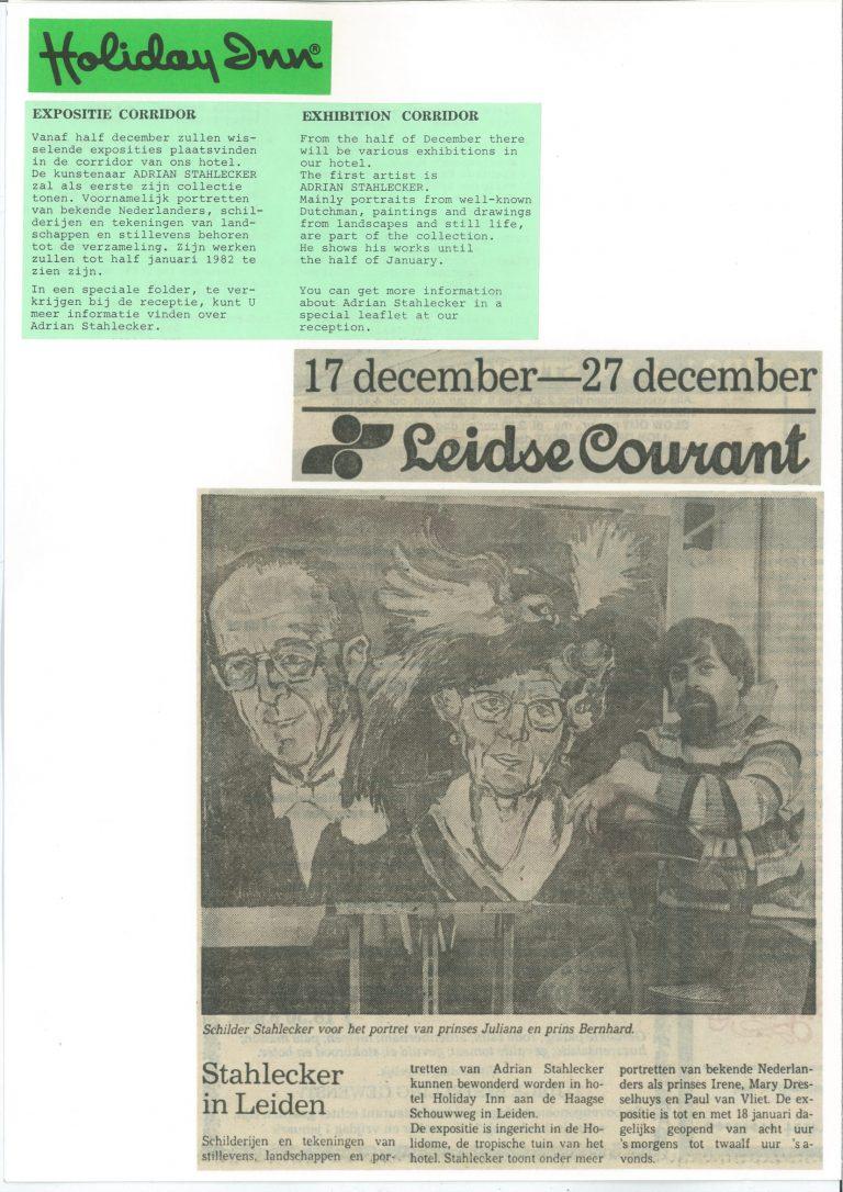 Leidse Courant Tentoonstelling Holidy Inn 17 12.